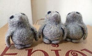 3 Fair Trade Hand Wool Felt Grey Penguins Small Penguin Gift Nepal CLEARANCE