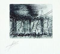 """DDR-Kunst """"Totem II"""" 1983. Radierung Klaus SOBOLEWSKI (1962-2006 D) handsigniert"""