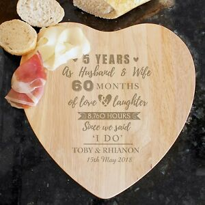 Personalised Wooden Heart Chopping Board Wedding Gift 5th Anniversary Present