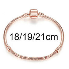 European Rose Gold Plated Charm Bracelets Stamped 925 sterling Snake Chain