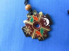 "Ceramic Necklace Chakana Pendant K New South American ""Inca Cross"" Peru"