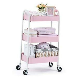 3 Tier Rolling Cart, No Screw Metal Utility Cart, Easy Assemble Utility