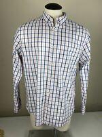 Mens Button Up Long Sleeve Shirt Sz L Banana Republic Plaid Pink Blue Camden Fit