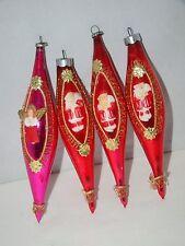 "Vintage Lot of 4 Blown Glass with Plastic Santa Teardrop Christmas Ornament 6"""