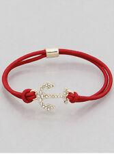 Gold Tone Crystal Anchor Stretch Stackable Fashion Bracelet