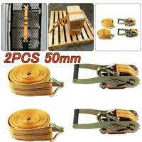 Ratchet Straps Tie Down 2 x 50mm 6 Meter 2 tons Claw Lorry Lashing Handy Straps
