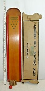 MODERN BOY BOWLING ALLEY BOARD GAME TOY BOXED 1930s C.G. WOOD CO.