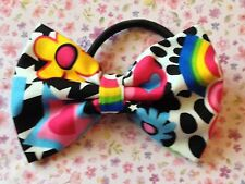 "NEW 3"" MULTICOLOUR 60s RETRO PRINT FABRIC BOW HAIR ELASTIC BAND PONYTAIL BOBBLE"