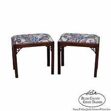 Custom Quality Pair of Solid Mahogany Chippendale Style Benches or Stools
