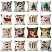 Christmas Xmas Linen Cotton Throw Waist Pillow Case Cushion Cover Home Decor HOT