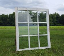 VINTAGE SASH ANTIQUE WOOD WINDOW PICTURE FRAME PINTEREST 9 PANE 33X28 WAVY GLASS