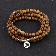 Multilayer 108 Wood Beads Lotus Tibetan Buddhist Buddha Bracelets Yoga Jewelry