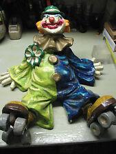 Paper Mache Clown On Roller Skates 16'' X 16'' Vintage