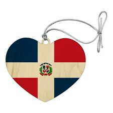The Dominican Republic Country Flag Heart Love Wood Christmas Tree Ornament