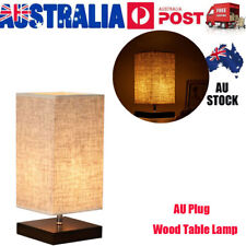 Retro Japanese Bedside Table Lamp Wood Shades Desk Night Lights with AU Adapter