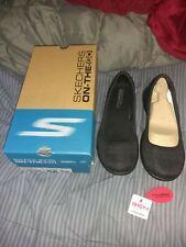 Skechers Womens 15400 Crocodile Round Toe SlingBack Slide Flats, Black, Size 7.0