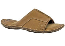 "MARGARITAVILLE MEN""S Slide Shoes Size 9 Leather Cushion Sole Chestnut Brown NEW."