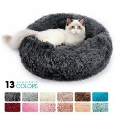 Round Plush Cat Bed House For Sleeping