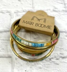 5 Bangle Bracelets Turquoise Apricot Yellow Brass ? NWT Beach India Matr Boomie