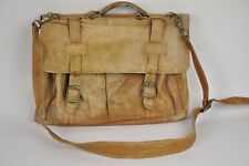 """Very DISTRESSED Brown Leather SIMON briefcase/Messenger bag shoulder strap 16"""""""