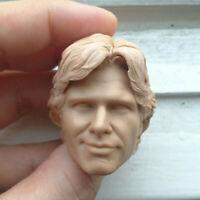 """Blank 1/6 Scale Solo Harrison Ford 2.0 Star Wars Head Sculpt Unpainted Fit 12"""""""