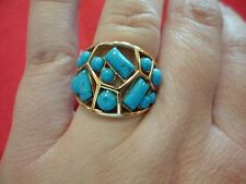 Blue Howlite Ring in 14K Rose Gold Over Stainless Steel-Size 7-5.00 Carats