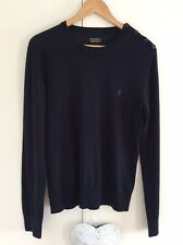 Mens All Saints 100% Merino Wool Jumper Top Black Crewe Neck Medium