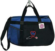 Medical Stethoscope RN Heart Monogram Bag Blue Gym Duffel Traveling Nurse Gift
