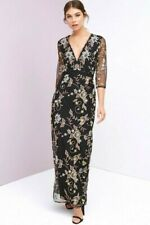 Little Mistress NWT UK size 8 black and gold embroidered lace lined maxi dress