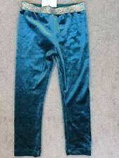 M&S BLUE/GREEN VELVET LEGGINGS WITH MULTICOLOUR GLITTER WAISTBAND - BNWT