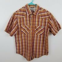rewire mfg co shirt S pearl snap plaid red orange short sleeve mens