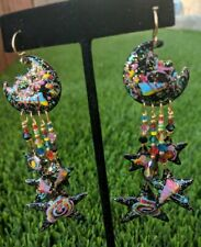 """Vintage Signed Lunch At The Ritz '85 Colorful Moon Star Dangle Earrings 4"""" Long"""