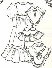"""35-36"""" DOLL DRESS 3 diff. collars  PATTERN Victorian  ANTIQUE vintage look 1080"""