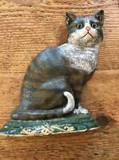 Cast Iron Black & White Cat Kitty Vintage Large Heavy Doorstop 7 Lbs 12""