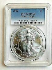 2002 Pcgs Ms69 1oz Silver Eagle