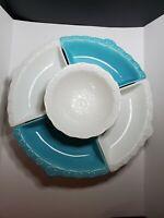 Vintage Calif USA L55 Lazy Susan AQUA Turquoise Blue WHITE Ceramic 6 Piece