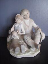 Mint Retired Lladro #1230 Friendship Figurine Boy Girl Puppy Dog Children Spain
