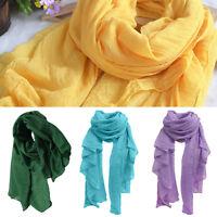 Women's Soft Long Cotton Linen Wrap Scarf Shawl Solid Color Stole Pashmina Pour