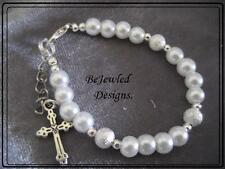 Baby Bracelet Bangle Glass Pearls with Tibetan Silver Cross Charm