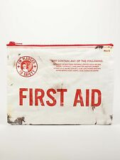 "Blue Q ""First Aid"" large zipper pouch case bag eco recycled apocalypse vintage"