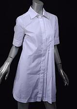 SPORTMAX White 100% Cotton B/D Blouse w/Pleat Detail - GREAT - NWT  $325  US8