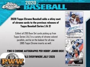 CLEVELAND INDIANS 2020 Topps Chrome Jumbo Baseball Half Case Break #4