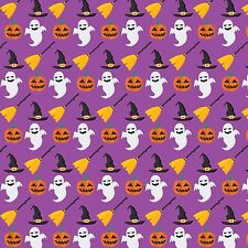 Printed Bow Fabric A4 Canvas Halloween Pumpkin Ghost Witch HW2 Make glitter bows
