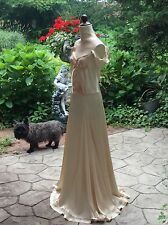 SALE Vintage 1930's Off White Satin Floor Length Party Gown