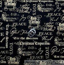 BonEful Fabric Cotton Quilt Black Gold Xmas Word Peace Religious Face Mask SCRAP