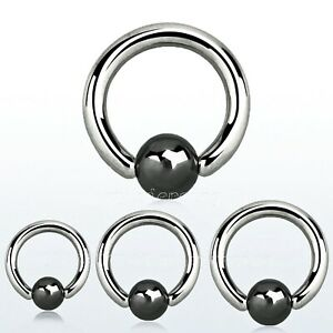 PAIR Captive Bead Ring Surgical Steel with Hematite Plated Bead Nose Earrings