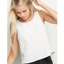 brandy melville white floral cotton eyelet open back Thaise top NWT sz S