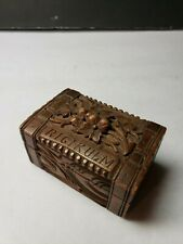VINTAGE RIGI KULM SWITZERLAND HAND CARVED STAMP BOX TRINKET BOX
