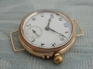 """Superb & Rare 14K Solid gold Electa """"Blue 12"""" Officers Borgel cased Trench Watch"""