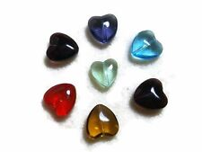 Bead Oddments -  7 x Large Glass Puff Heart Pendant Beads - Assorted Colours